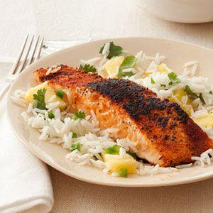 Blackened-Salmon-with-Pineapple-Rice-Recipe