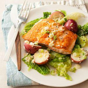 Seared-Salmon-with-Potatoes-Cabbage-Horseradish-Vinaigrette-Recipe