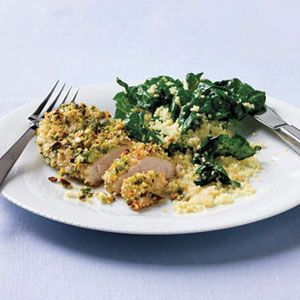 Pistachio-Chicken-with-Couscous-Greens-Recipe