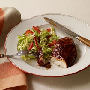 Sticky-Broiled-Chicken-with-Cabbage-Slaw-Recipe