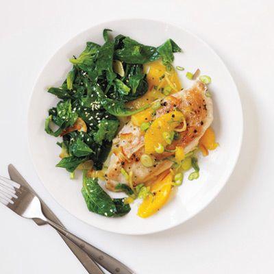 orange ginger chicken with spinach