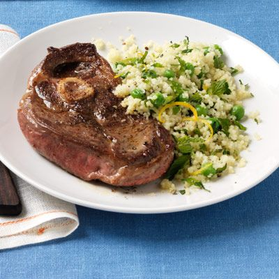 spiced lamb with minty green pea couscous