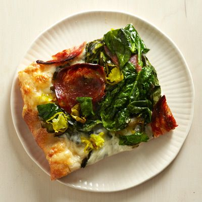 salami spinach and provolone pizza