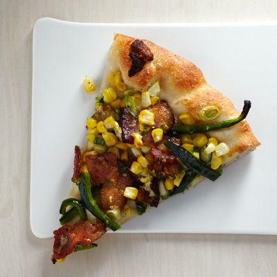 bacon corn and poblano pizza