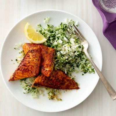 Blackened Fish With Green Rice Recipe