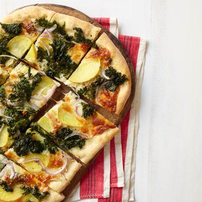 potato red onion and kale pizza