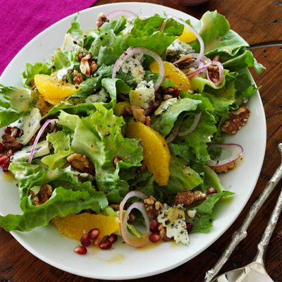 escarole salad with toasted walnuts and red wine vinaigrette