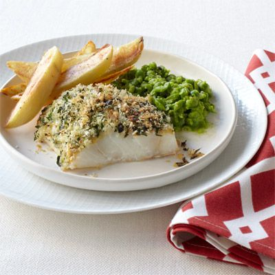 crispy fish with smashed peas and oven fries
