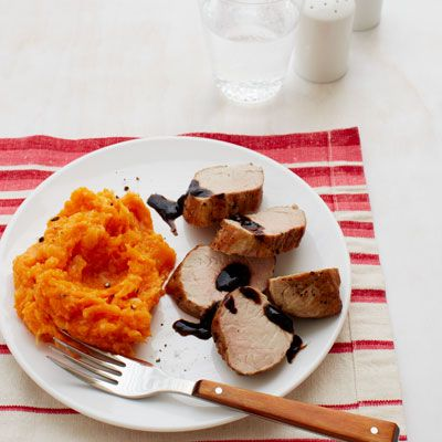 roasted pork tenderloin with sweet potato and parsnip mash