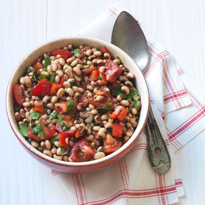 black eyed pea salad with tomatoes and peppers