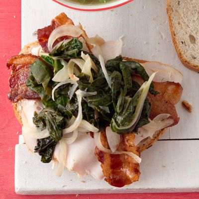 turkey club with bacon and sauteed chard