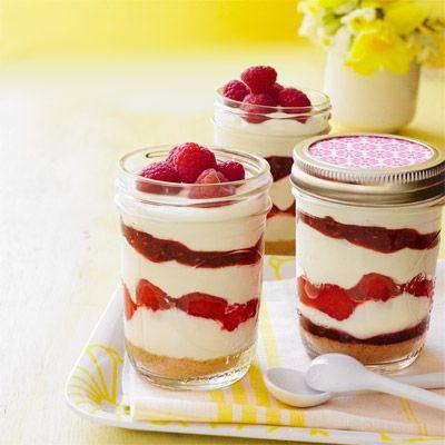 no bake raspberry cheesecake pots