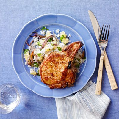 spiced pork chops with pineapple cilantro rice