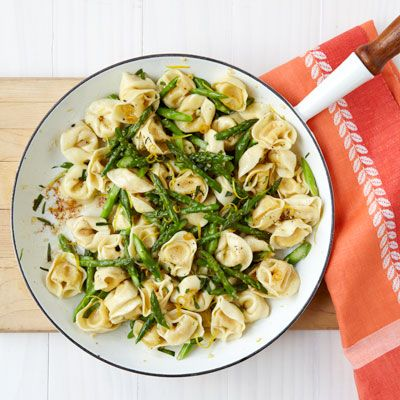 brown butter tortellini with toasted garlic and asparagus