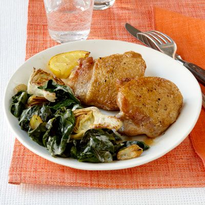 seared chicken with creamy spinach and artichokes