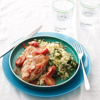 sauteed chicken cutlets and cherry tomatoes with spinach orzo