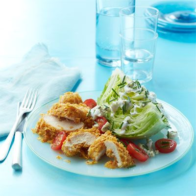crispy chicken salad with buttermilk blue cheese dressing