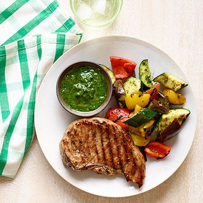 grilled pork chops and ratatouille