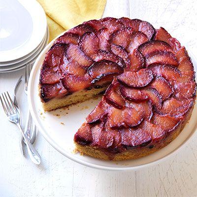 sticky plum upside cake