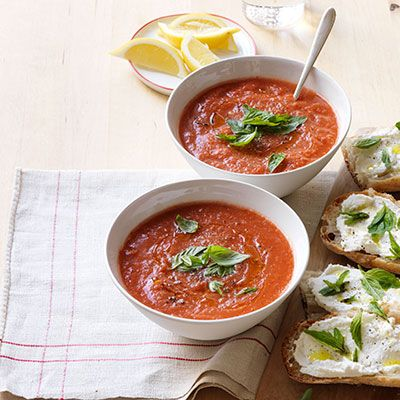 gazpacho with open faced ricotta sandwiches