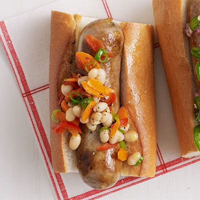 sausages with white bean cherry pepper and scallion relish