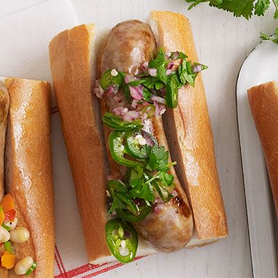 sausages with quick pickled red onion and jalapeno relish
