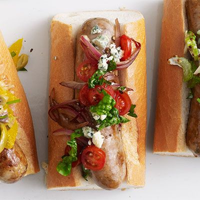 sausages with balsamic tomatoes onion spinach and blue cheese relish