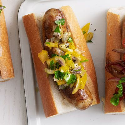 sausages with orange olive and sweet onion relish