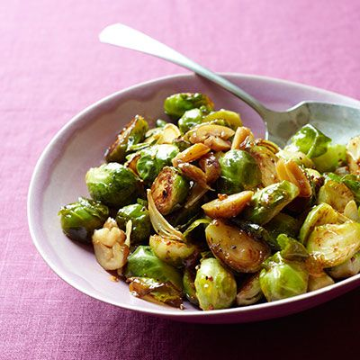 mustard glazed brussels sprouts with chestnuts