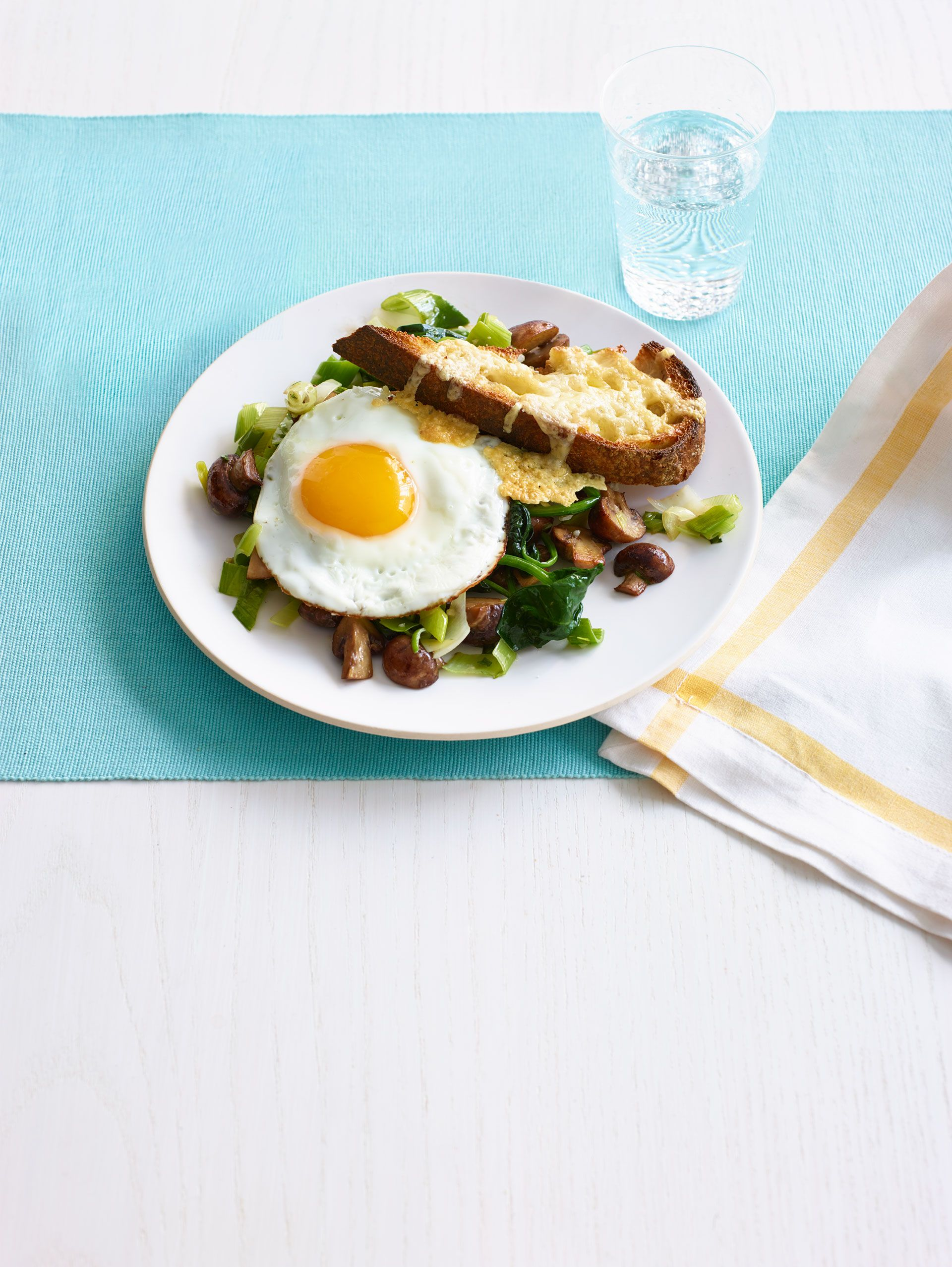 Leeks and Mushrooms on Cheesy Toasts with Fried Eggs