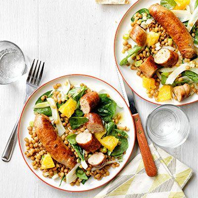 skillet sausages with lentil and orange salad