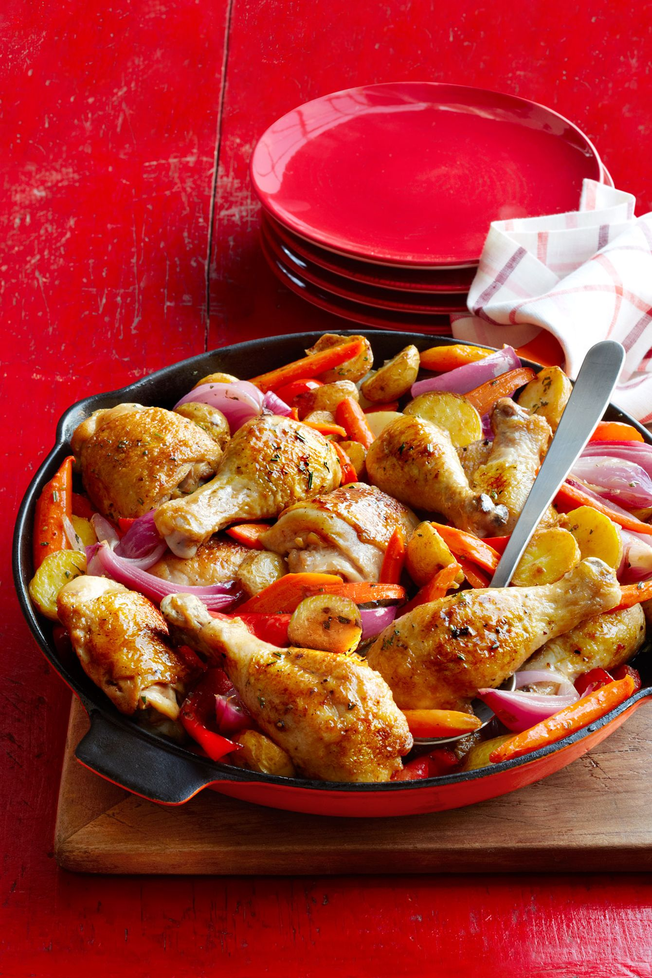 skillet roasted chicken potatoes and peppers