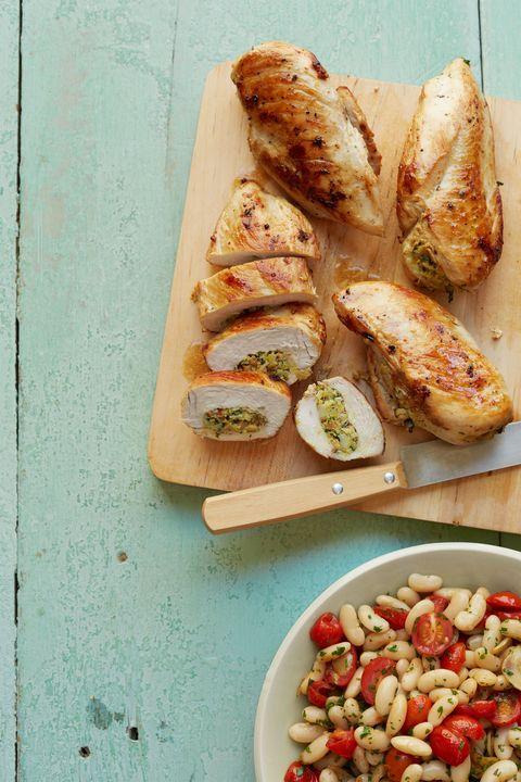 artichoke and almond stuffed chicken breasts
