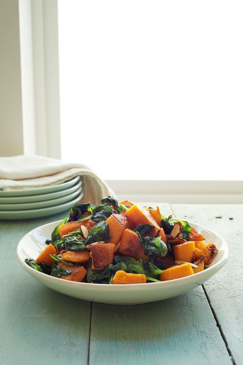 vegetarian thanksgiving Roasted Butternut Squash and Spinach