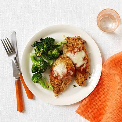 chicken parmesan with lemony broccoli