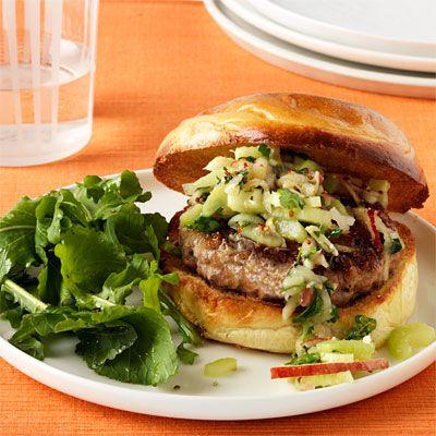 pork burgers with crunchy apple and celery slaw