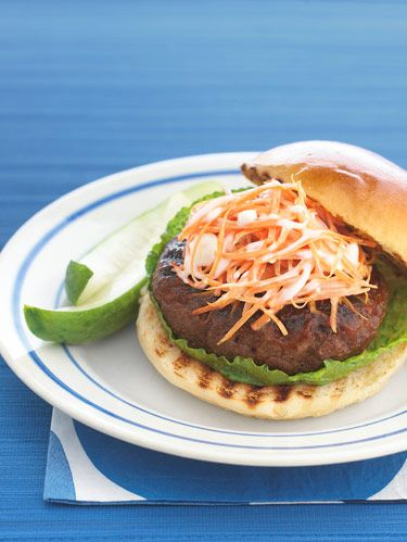 spicy barbecue burgers with blue cheese carrot slaw