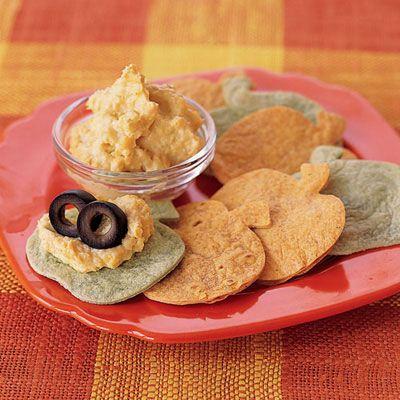 eyeball mash and pumpkin tortilla chips