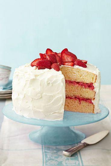 Strawberry Rhubarb Layer Cake - strawberry desserts