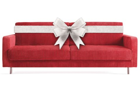 Red Couch With Bow