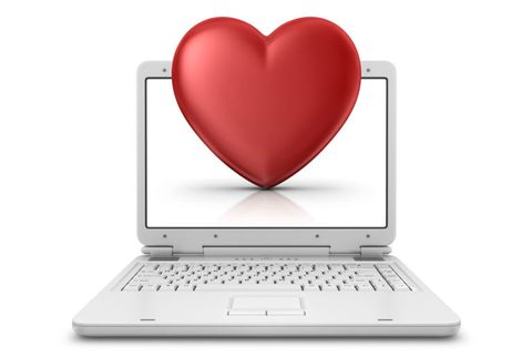 red heart on a computer screen