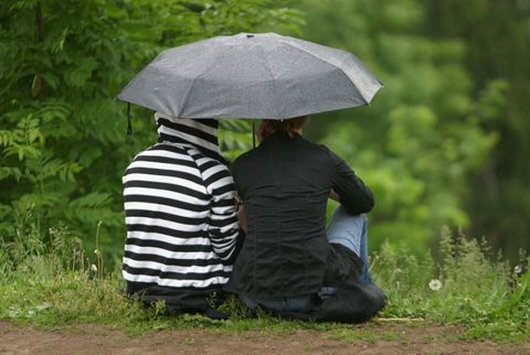 two [people share an umbrella