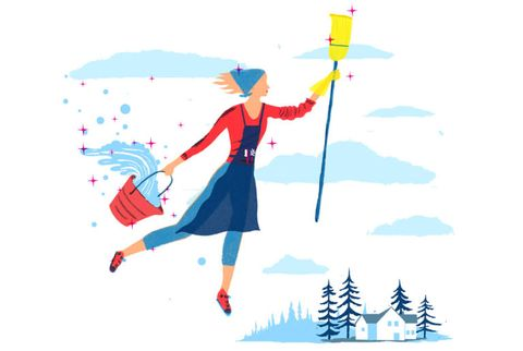 woman with apron, broom and bucket of water flying through winter sky