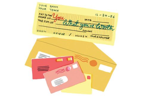 illustration of a personal check with stamped envelopes