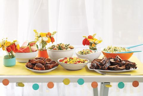 table with colorful accent pieces