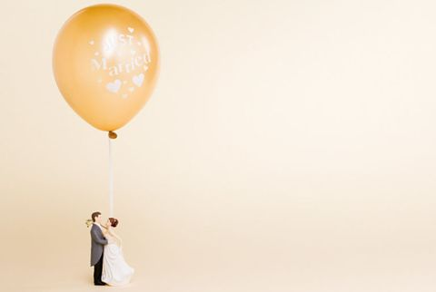 just married balloon cake topper