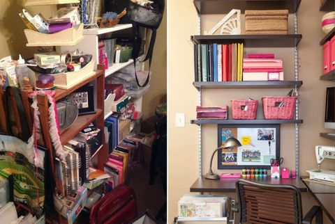 before and after of pam's shelves