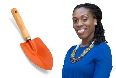 tiffany aliche and a orange shovel