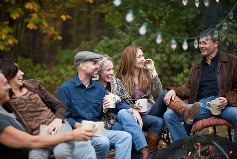 couples friends laughing
