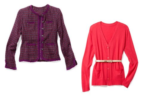 boucle blazer, v-neck cardigan, metal accent belt